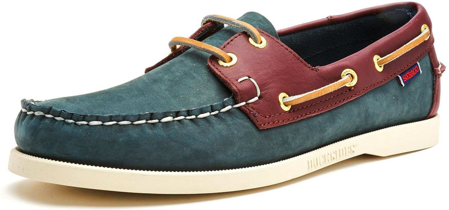 Sebago-Docksides-NBK-Suede-Boat-Deck-Shoes-in-Navy-Blue-amp-Coral-amp-Dark-Brown thumbnail 27