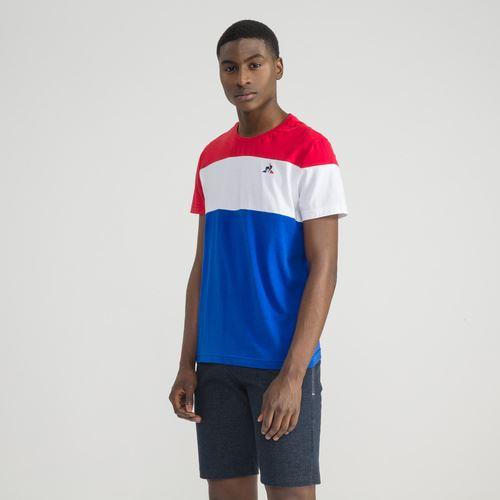 Descripción Camiseta de manga corta cuello redondo azul-blanco-rojo 140 g  100% algodón jersey. Cómodo y suave para llevar. Regular / classic fit