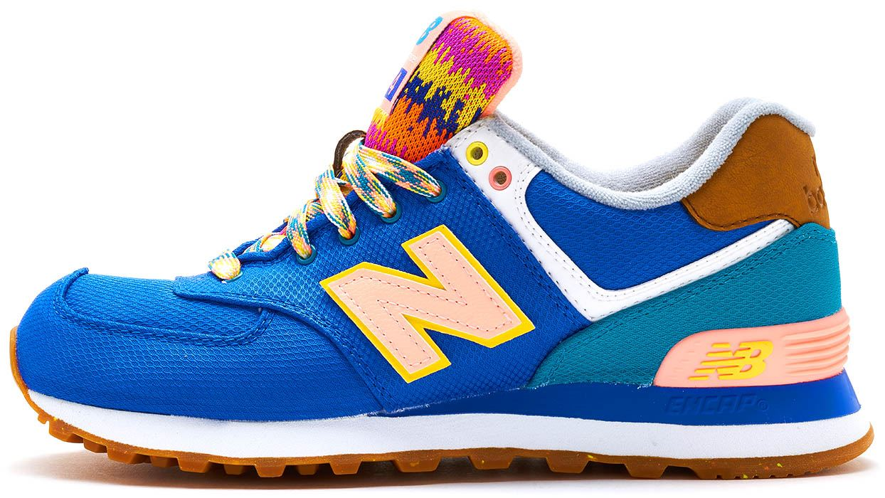 255ddfaf58883 New Balance 574 Suede Retro Women Trainers in Blue & Orange WL574 ...