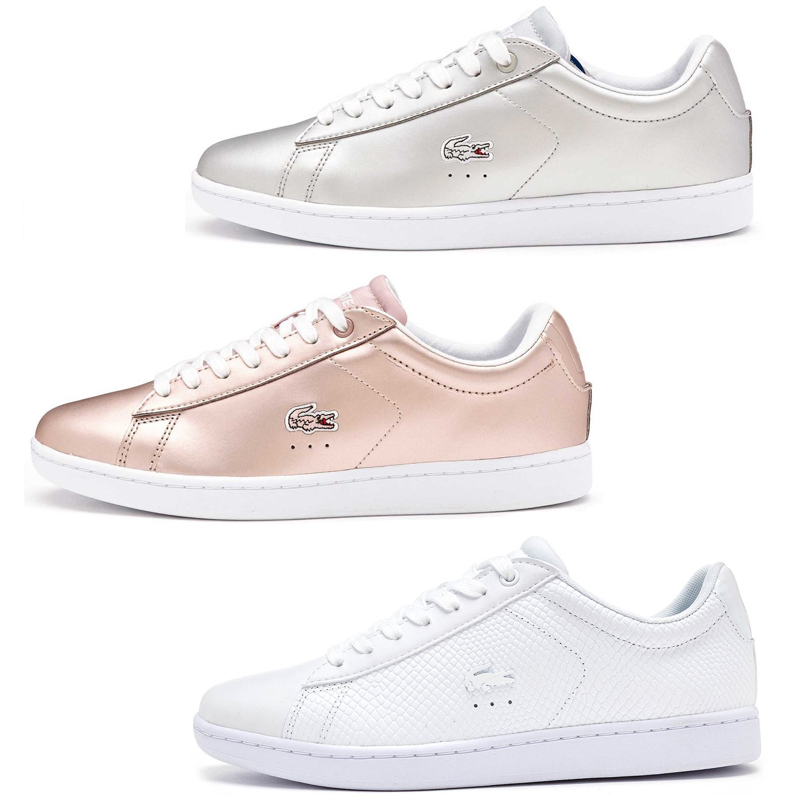 52f8b95f3 Lacoste Carnaby EVO 117 3 SPW Leather Women Trainers in Grey   Pink  733SPW1012
