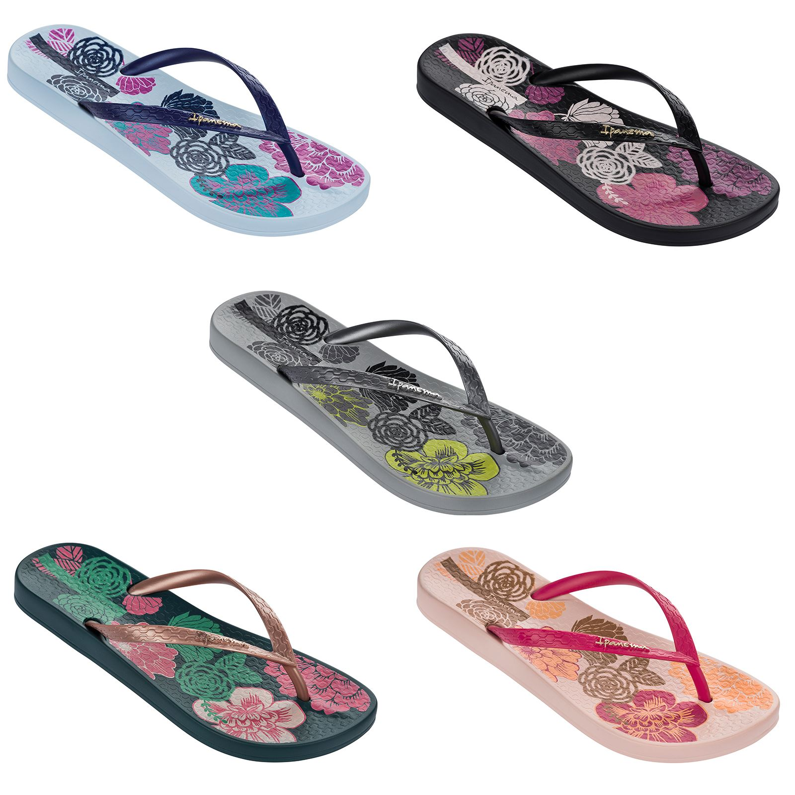 10578474f1ac Ipanema Petal V Flowers Print Slim Footbed Flip Flops Beach Sandals 81924