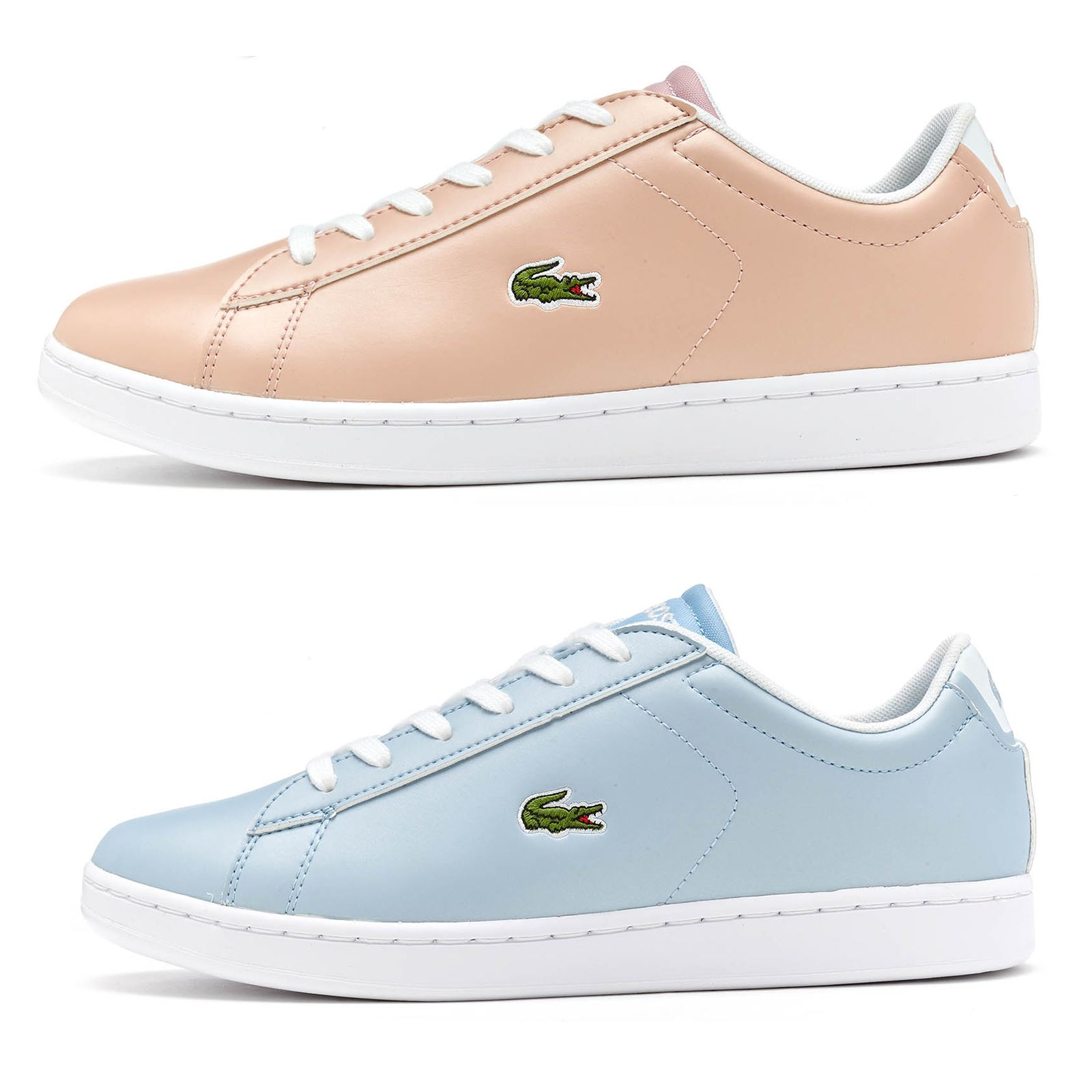 a37262ac676c24 Lacoste Carnaby Evo 317 6 SPJ GS Trainers in Pink   Blue 734SPJ0006 ...
