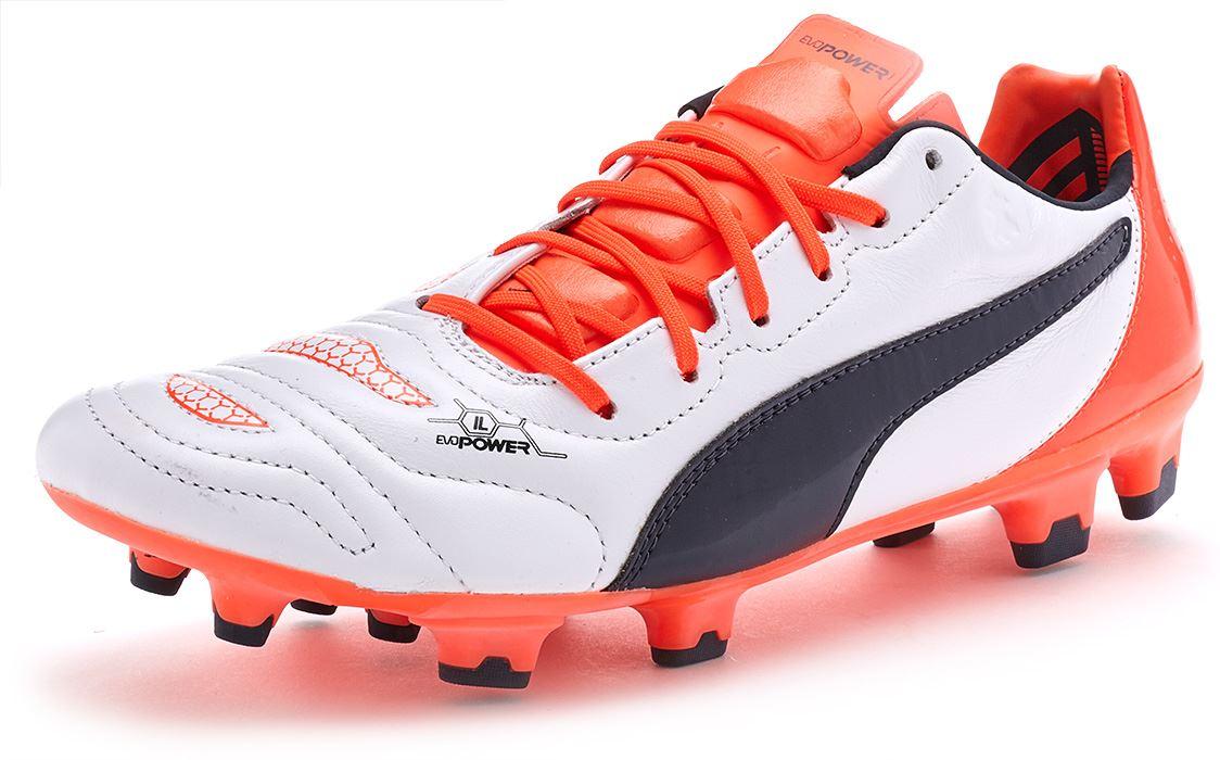 Puma EvoPower 1.2 L FG Football Boots Soccer Cleats in White   Orange  103210 08 02952da65
