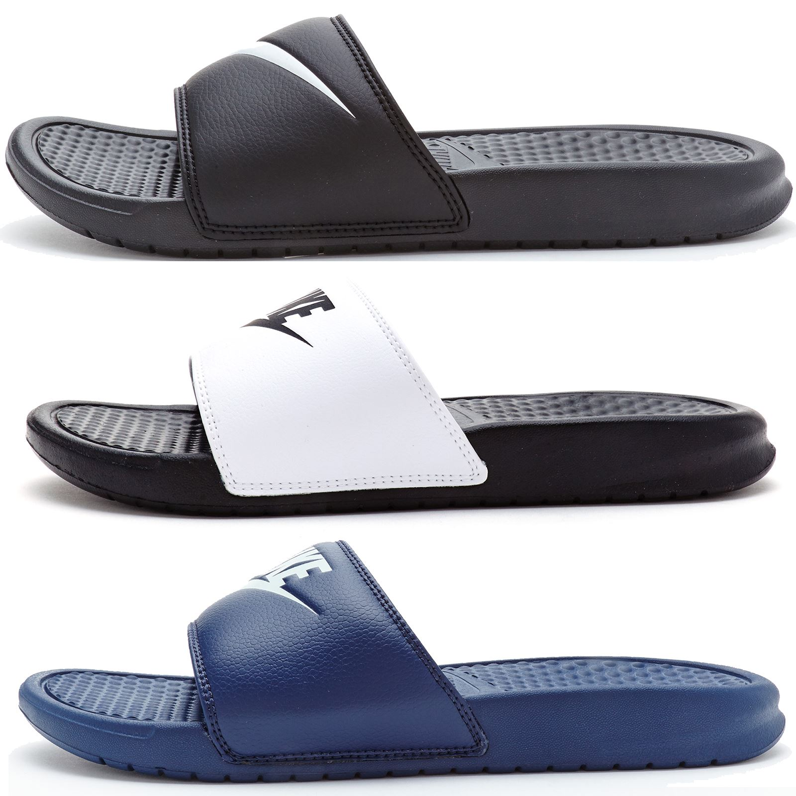 new styles a42e6 44128 Details about Nike Benassi Swoosh  Just Do IT Slide Flip Flop Pool Beach  Sandals in All Sizes