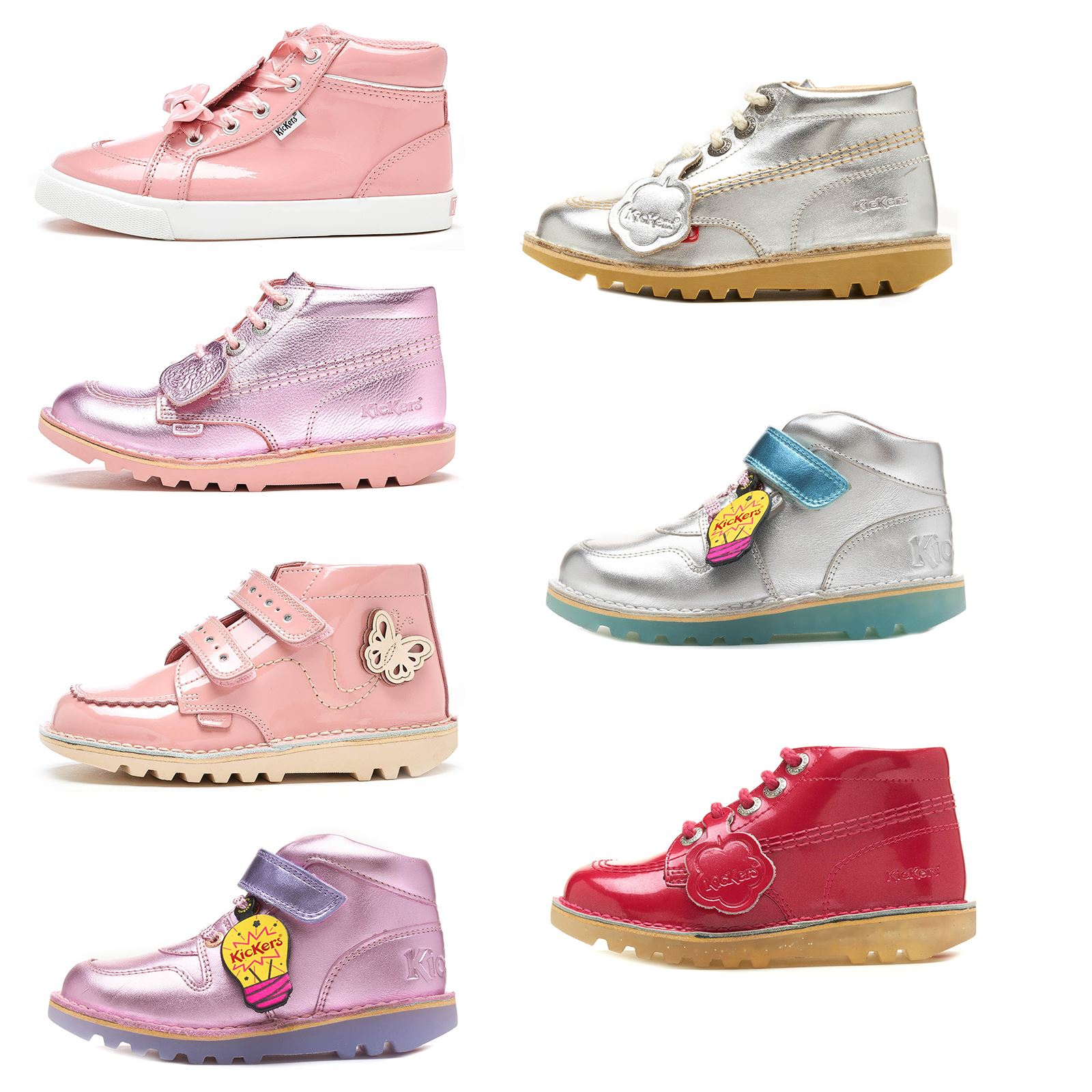 ae87cab3c9305 Details about Kickers Hi Kids & Junior Shiny Metallic Boots Strap & Lace  Bow in Pastel & Black