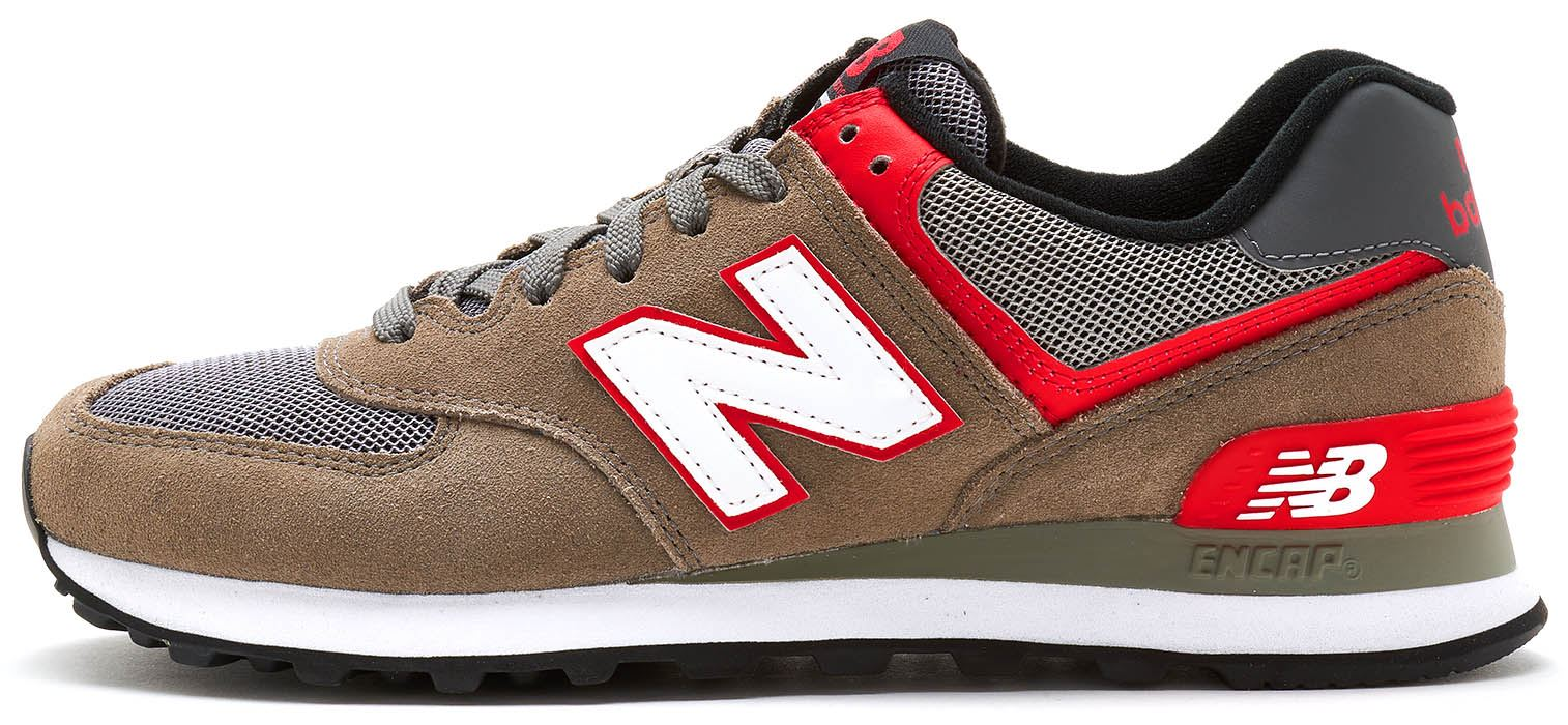 huge discount 1976a d5eed Details about New Balance 574 Suede Retro Trainers in Grey   Red WL574 AAC