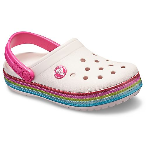 Crocs-Kids-Crocband-Rainbow-Wavy-Sequin-Relaxed-Fit-Clogs-Shoes-Pink-Blue-Orange thumbnail 17