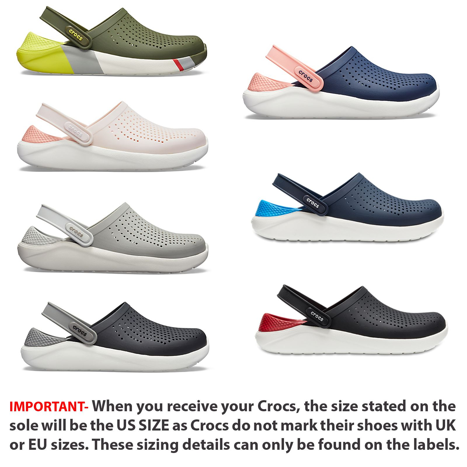 amazing price shop for authentic unequal in performance Details about Crocs Lite Ride Relaxed Fit Clog Shoes Sandals Black, Grey,  White & Blue 204592