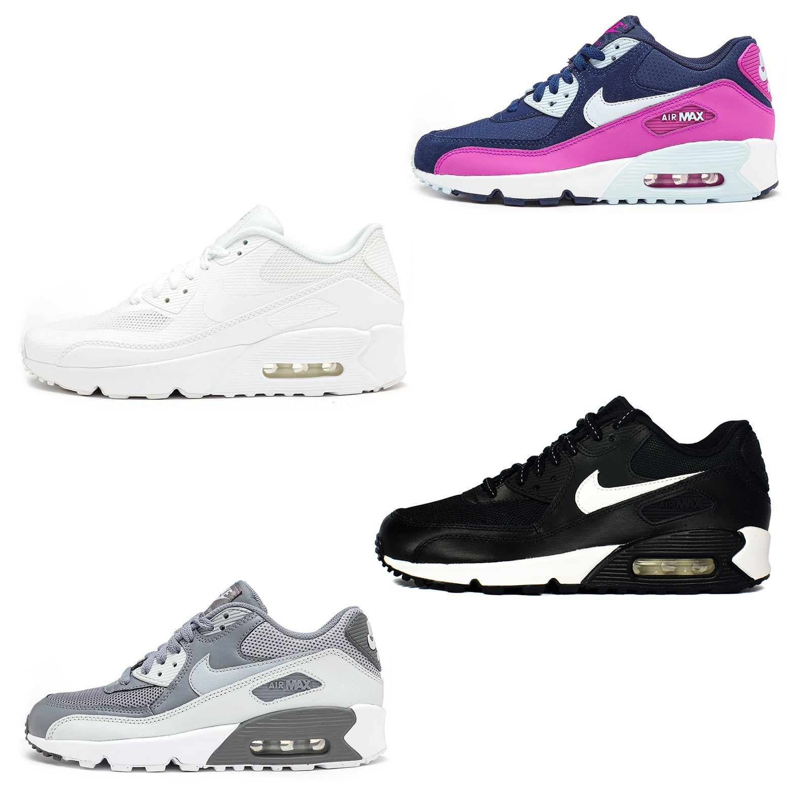 Details about Nike Air Max 90 & Zero GS Fashion Leather Glow Mesh Trainers All Sizes