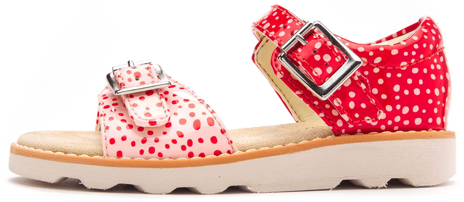 e68e36b5eaf Clarks Crown Bloom Toodler Leather Strappy Buckle Sandals Red Polka Dots