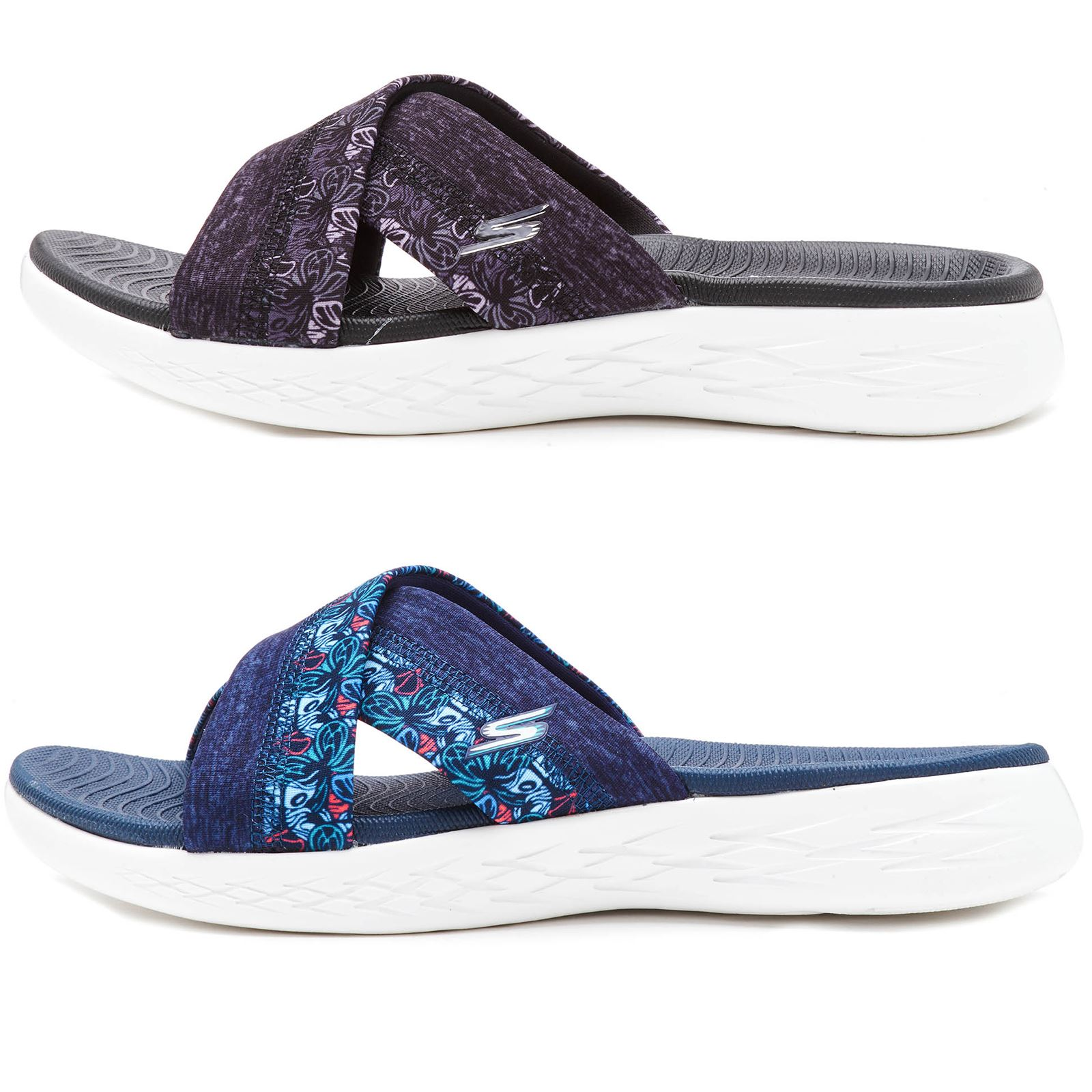 Skechers 15306 Navy Womens Cross Over Beach Summer Sandals Floral Design