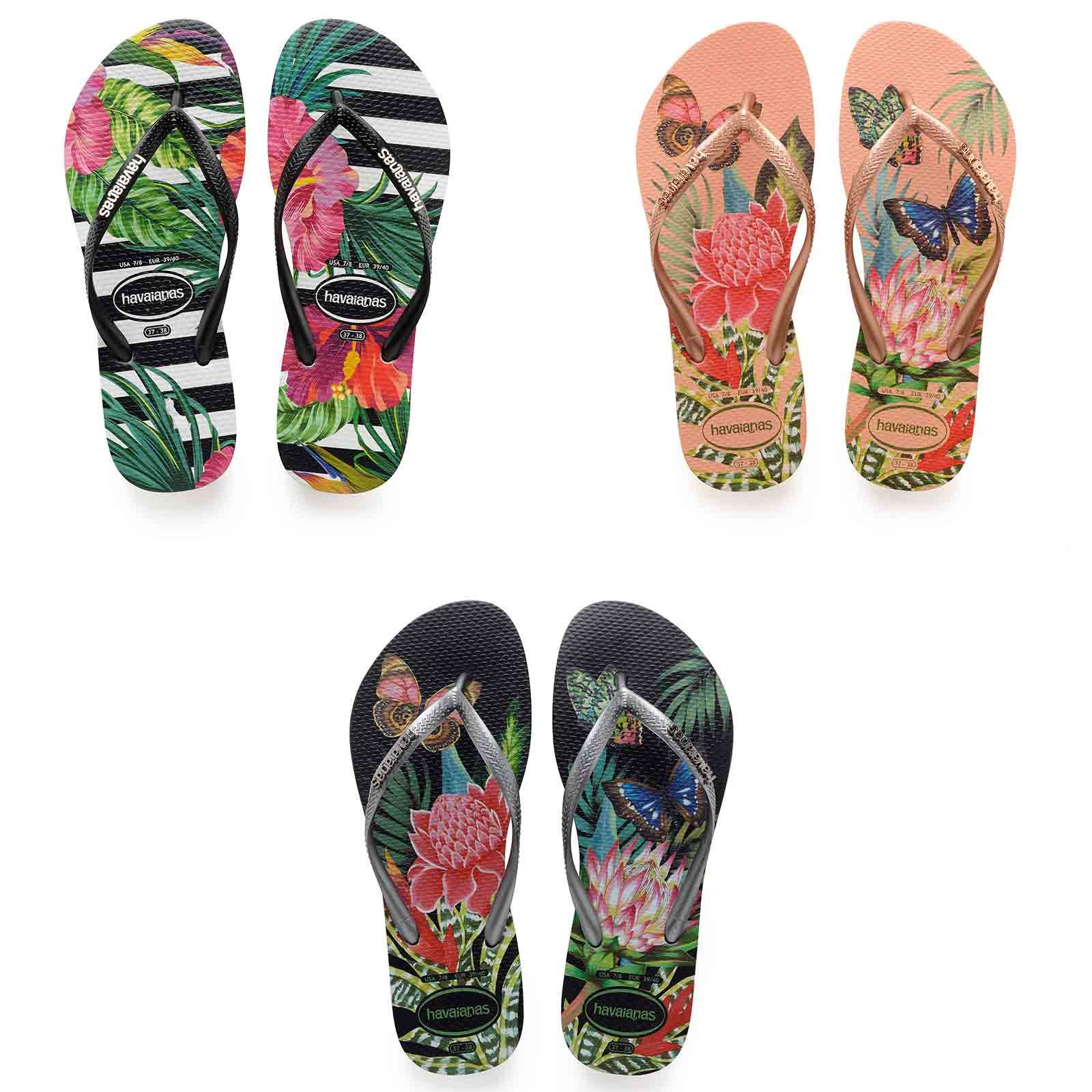 14d06ed76 Details about Havaianas Slim Tropical   Floral Print Flip Flops Summer  Beach Pool Sandals