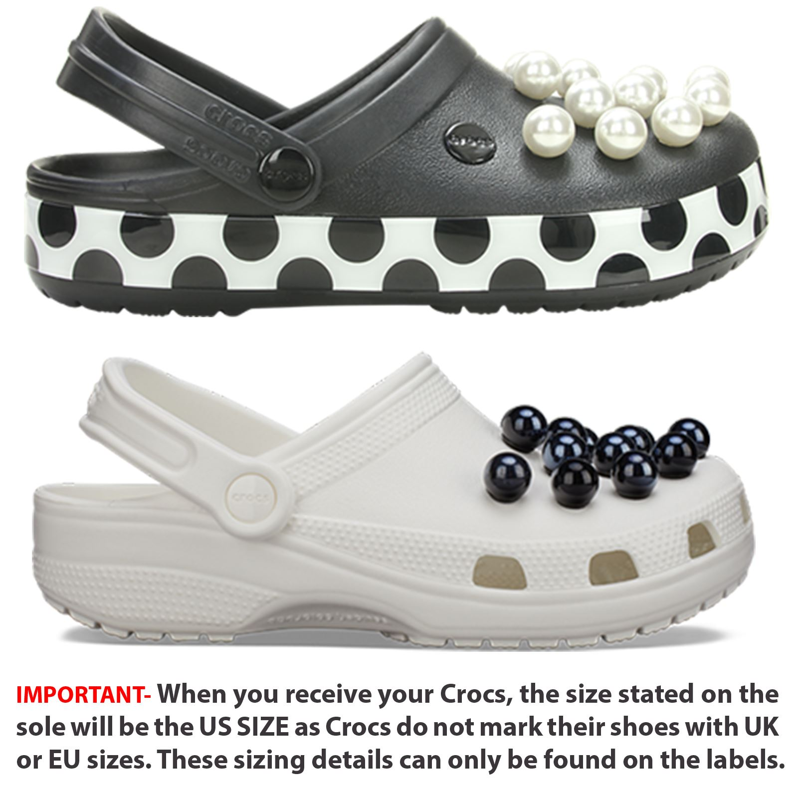 3abbe212b Crocs Crocband Timeless Clash Pearl Relaxed Fit Polka Dot Shoes in Black    White