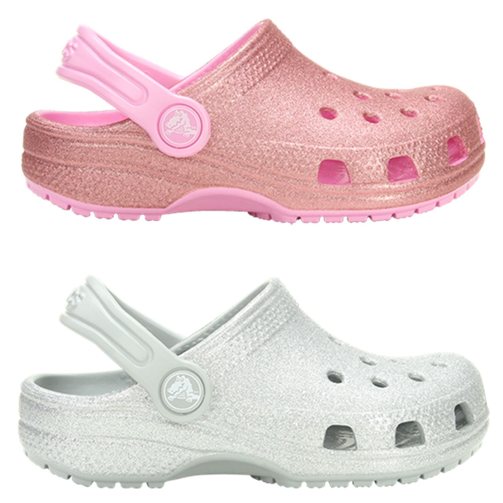 e6ccd085fb7 Crocs Classic Glitter Kids Roomy Fit Clog Shoes Sandals in Blossom Pink    Silver