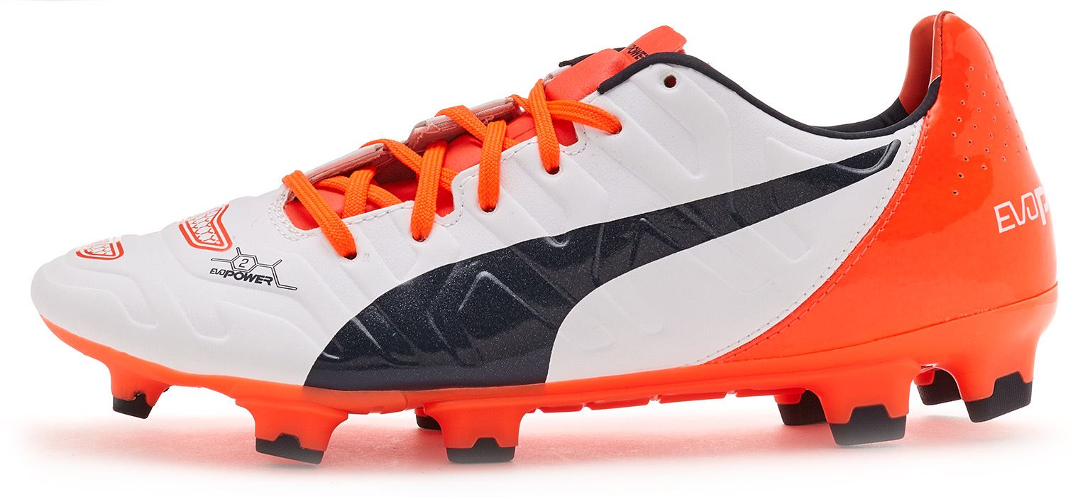 Puma EvoPower 1.2   2.2 Football Boots Soccer Cleats In Black White Red    Orange 69e5f1c9a