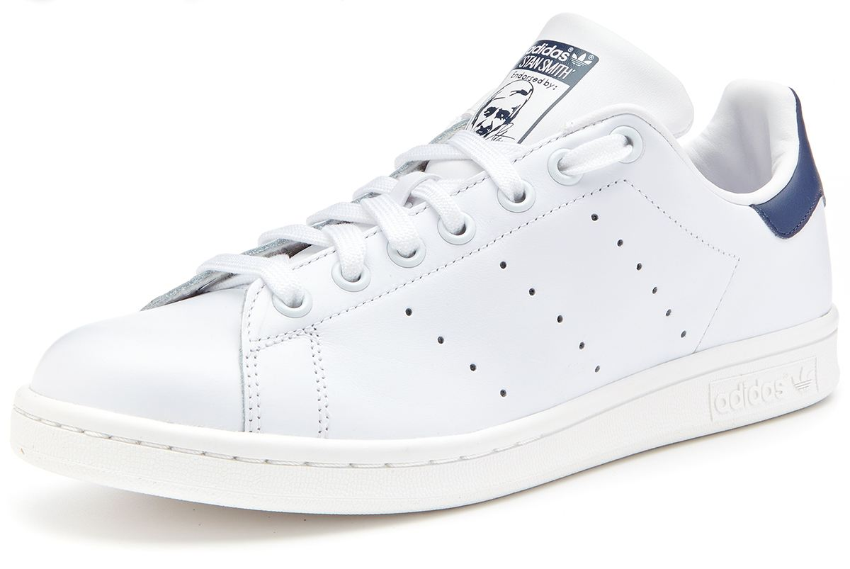 mens adidas white & navy stan smith trainers