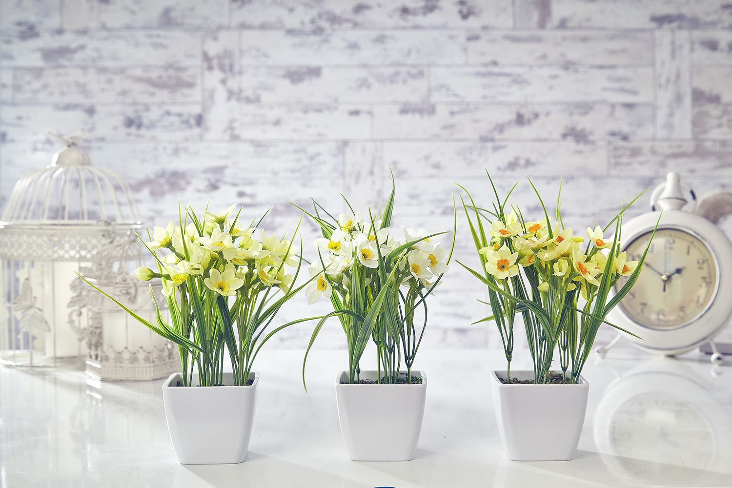 Artificial Daffodil Flowers Plants In Pot Grass Home Decor