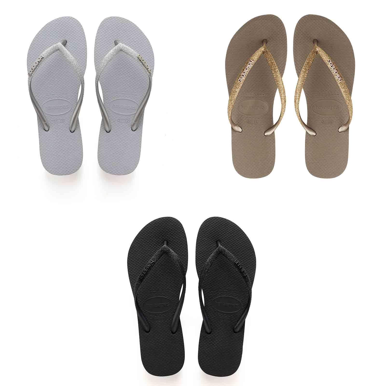 bd6bbe72ca5 Details about Havaianas Slim Glitter Strap Flip Flops Women Summer Beach  Pool Sandals Thongs