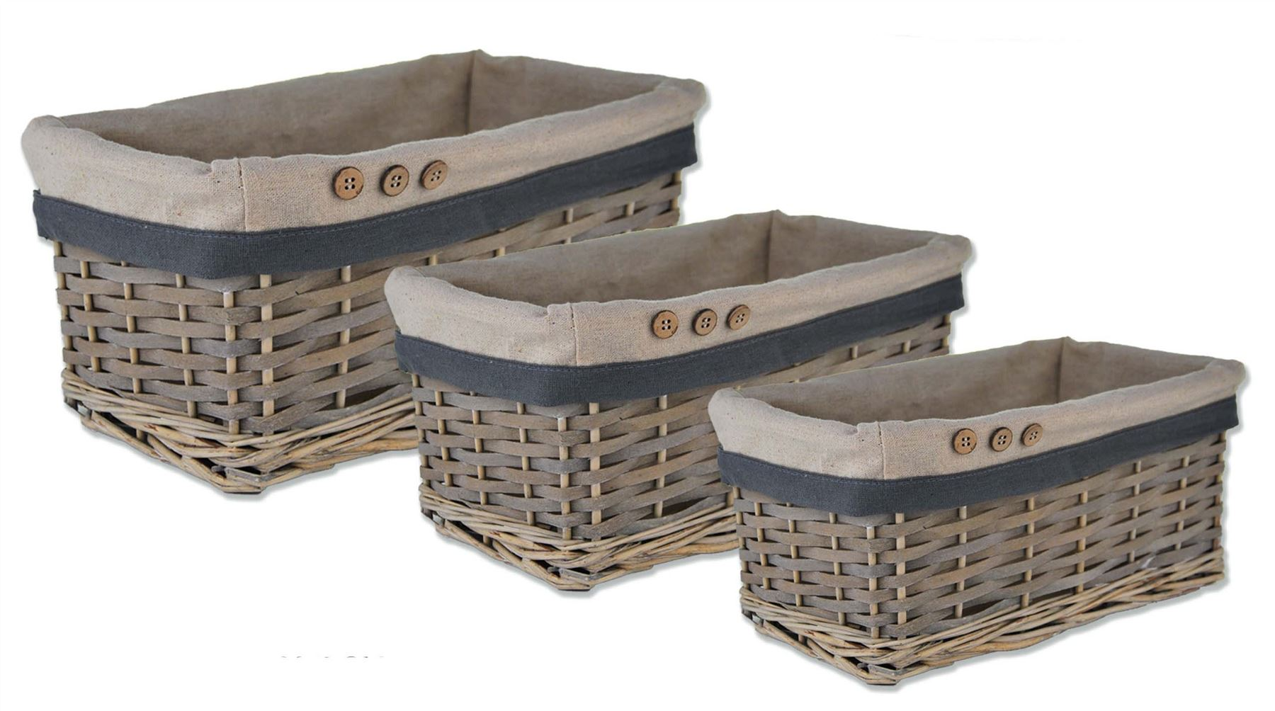 storage wicker willow lined basket bread fruit hamper. Black Bedroom Furniture Sets. Home Design Ideas
