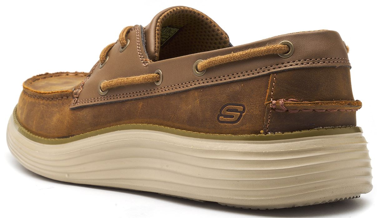 Details about Skechers Status Former Oiled Leather Boat Deck Shoes in Navy Blue & Brown 65894