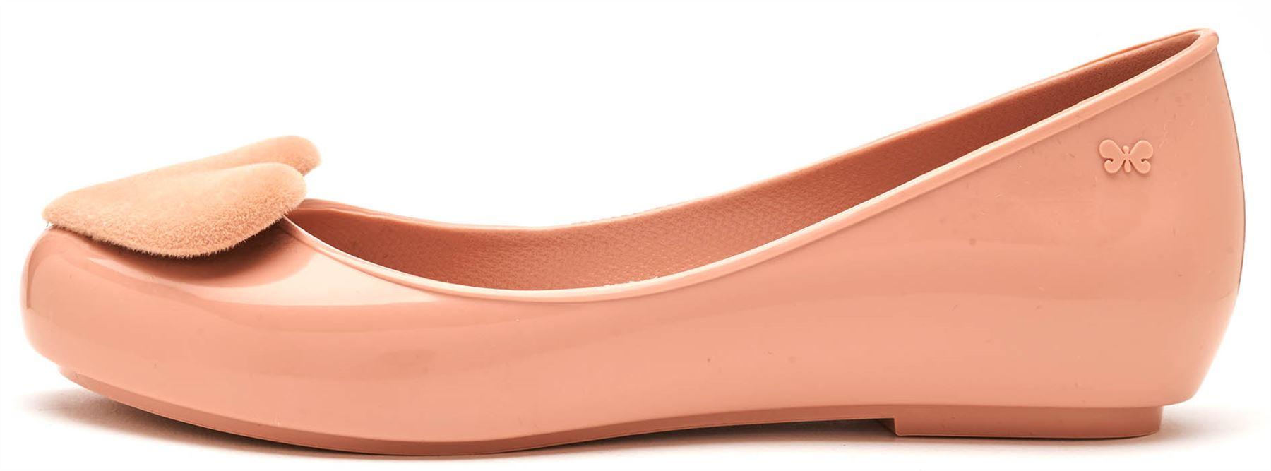 0954f8c50a50 Zaxy Pop Heart Flock Ballerina Slip On Flat Jelly Shoes in Black ...