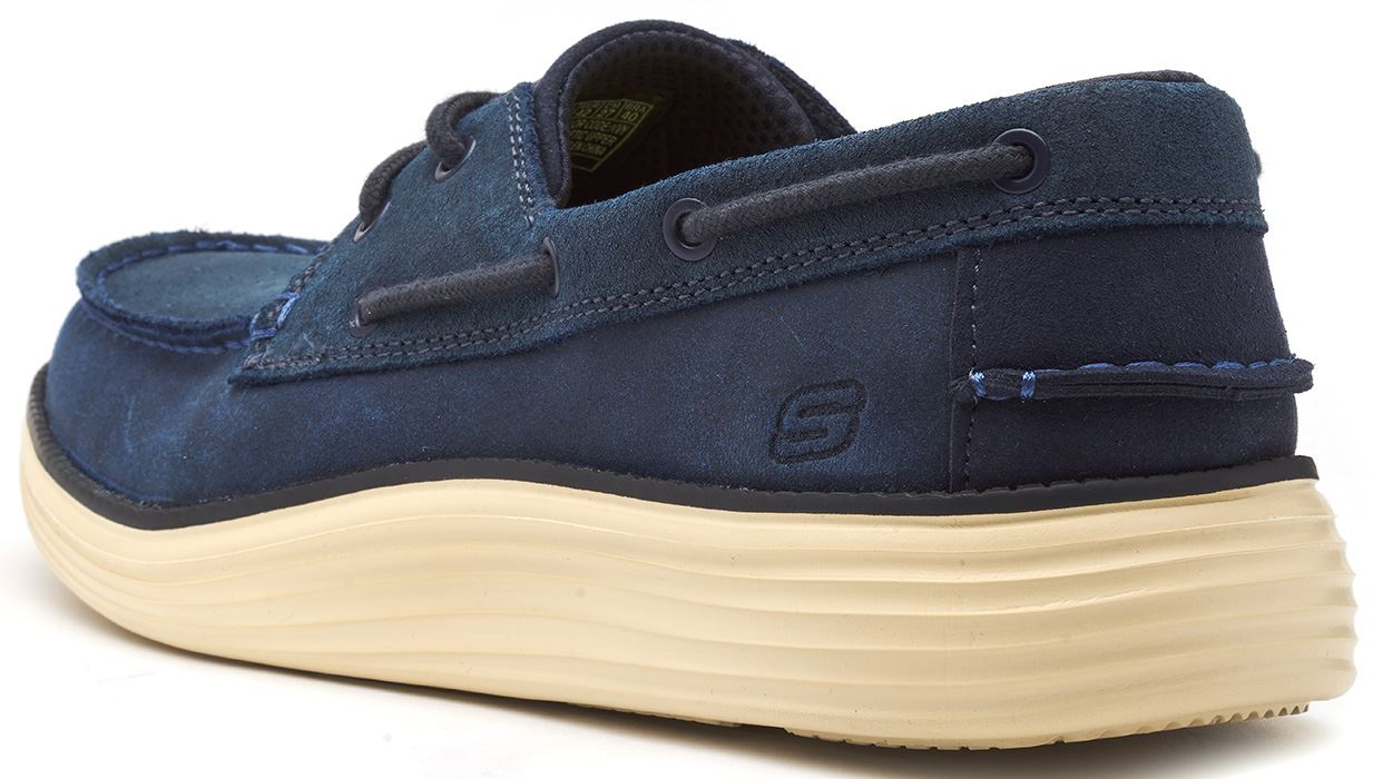 Skechers-Status-Former-Oiled-Leather-Boat-Deck-Shoes-in-Navy-Blue-amp-Brown-65894 thumbnail 8