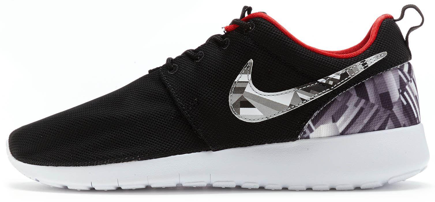 Nike Roshe Run UNO STAMPA GS Scarpe sportive Nero palestra rosso LUPO GRIGIO