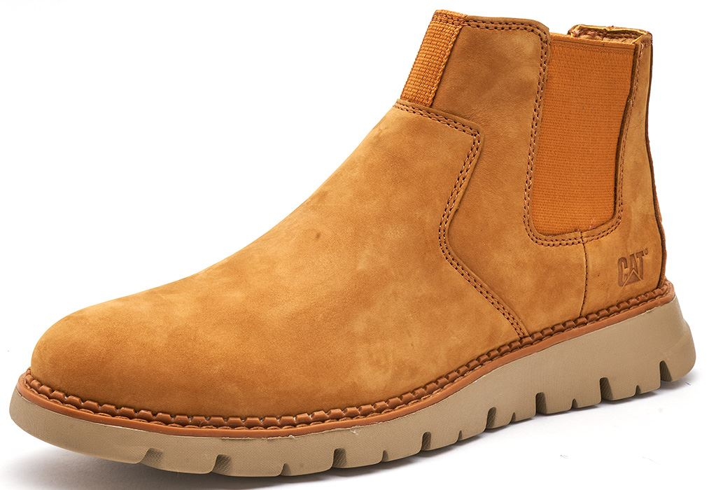 Caterpillar-CAT-Kase-Leather-Ankle-Chelsea-Boots-in-Brown-amp-Tan thumbnail 3