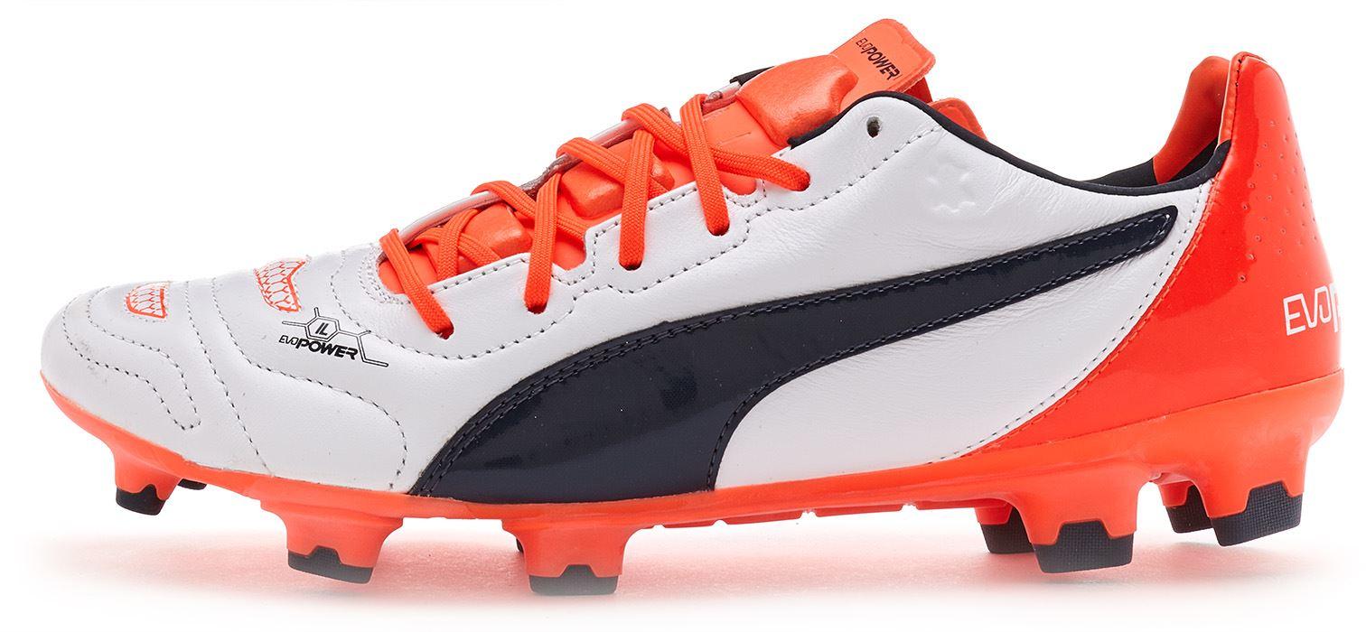 Puma evoPOWER 1.2 CALCIO FOOTBALL PELLE TACCHETTI IN BIANCO 103210 08 UK 6