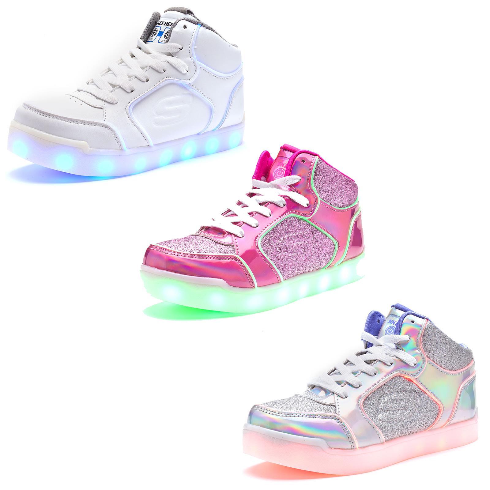 Skechers Girls' S Lights: Energy Lights Ultra Glitzy Glow Sneakers, Silver 2.5L