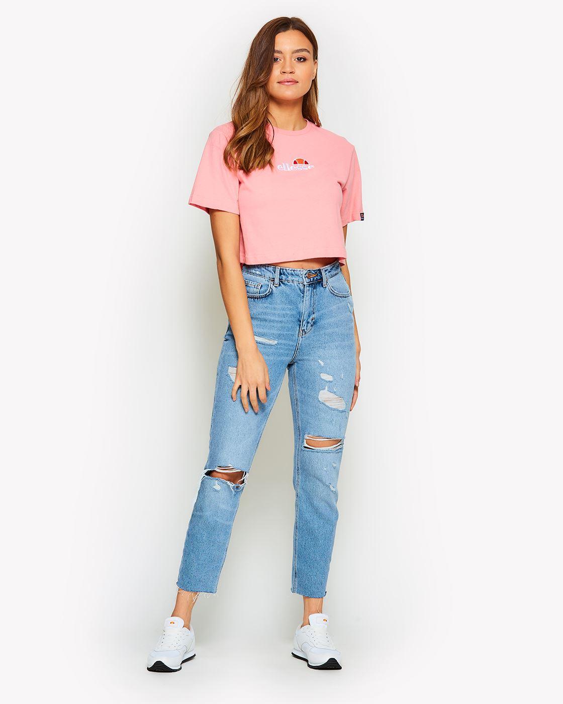 Ellesse-Women-Crop-Cotton-T-Shirt-Summer-Top-in-Pastel-Colours thumbnail 9