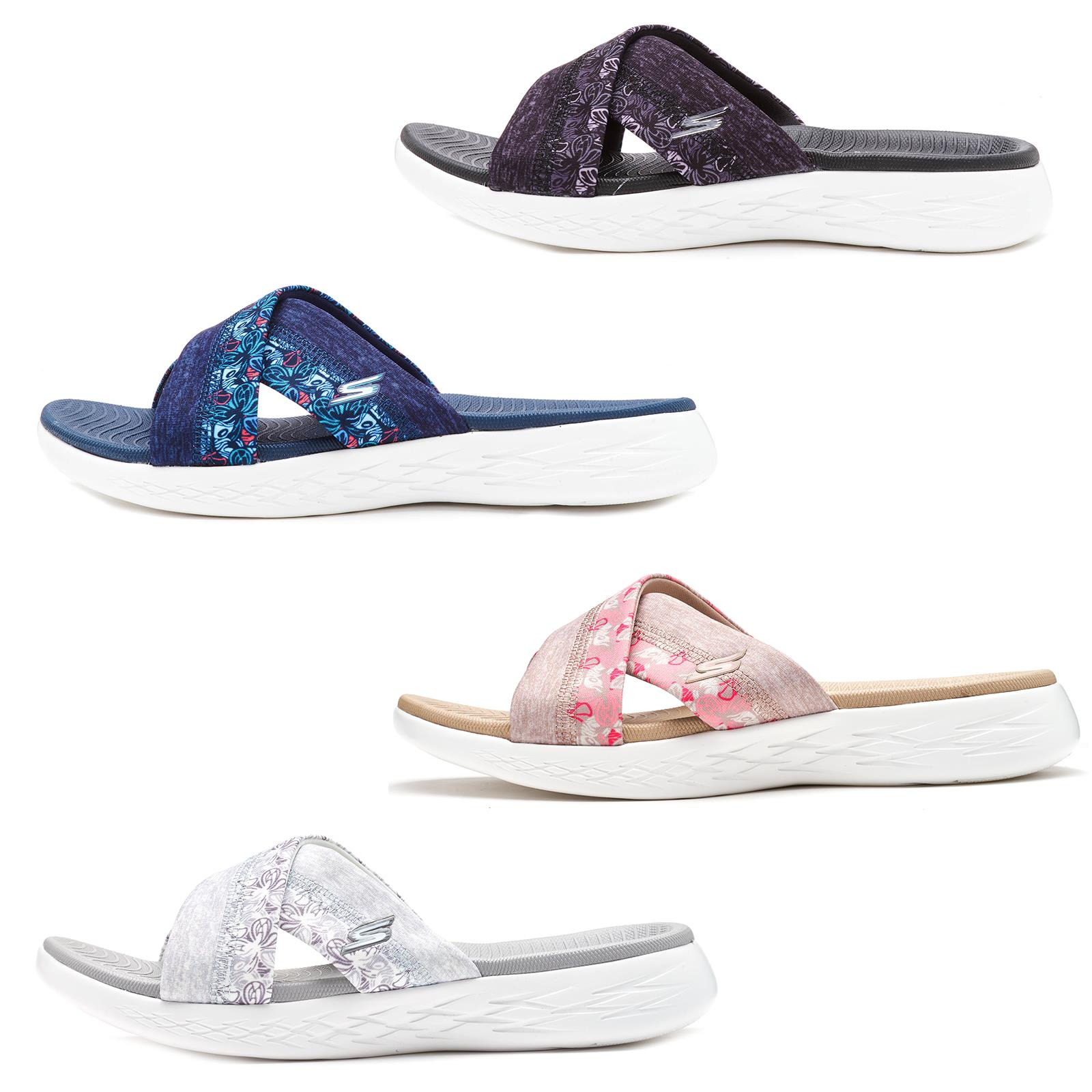 Details zu Skechers On the Go 600 Monarch Cross Strap Slide Summer Women Sandals 15306