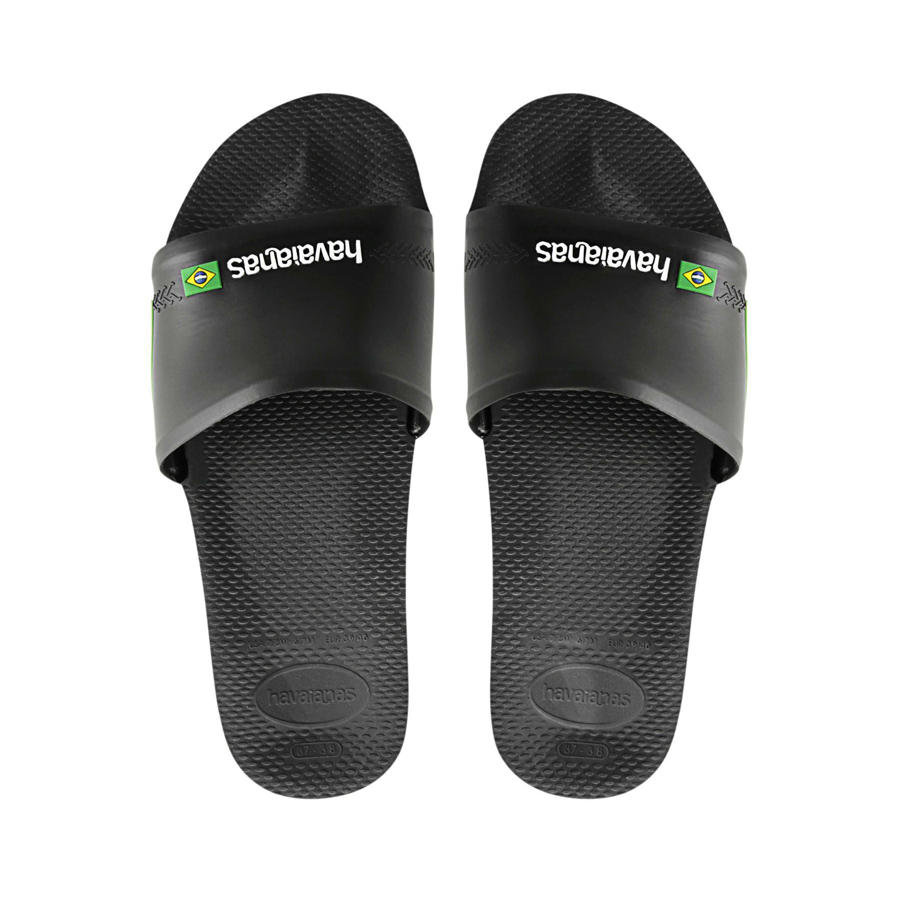 Details zu Havaianas Slide Brasil Dual Tone Summer Beach Pool Sandals in White, Blue, Black