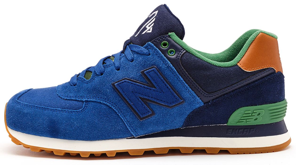 new balance 574 leather blu