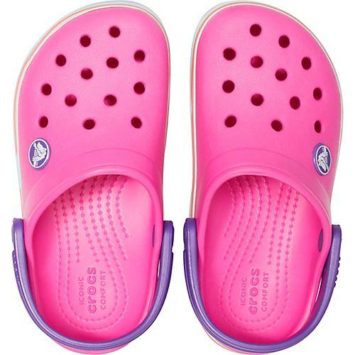 Crocs-Kids-Crocband-Rainbow-Wavy-Sequin-Relaxed-Fit-Clogs-Shoes-Pink-Blue-Orange thumbnail 26