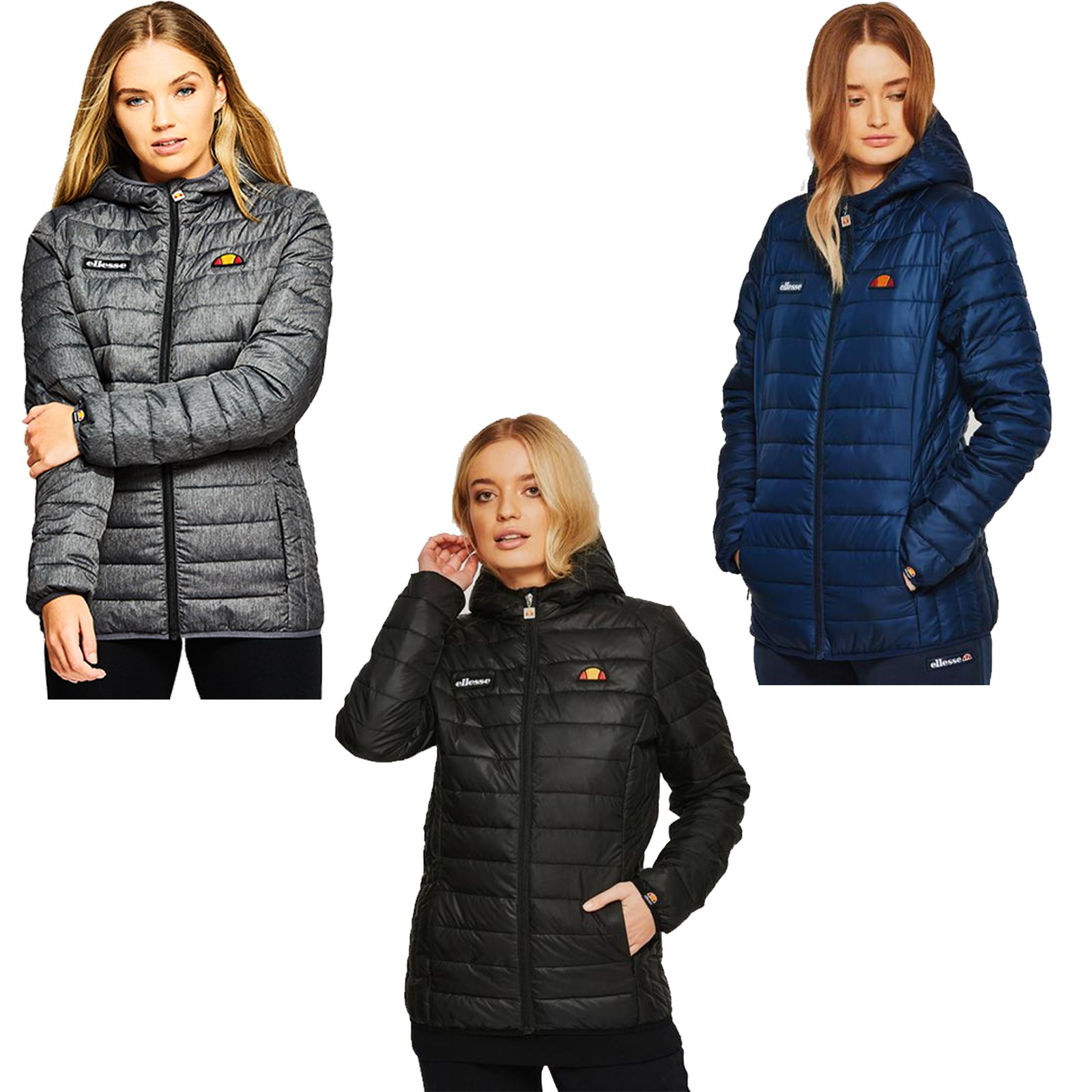 659ce87a2354 Details about Ellesse Lompard Padded Hooded Quilted Coat Bubble Puffer  Jacket in Blue   Grey
