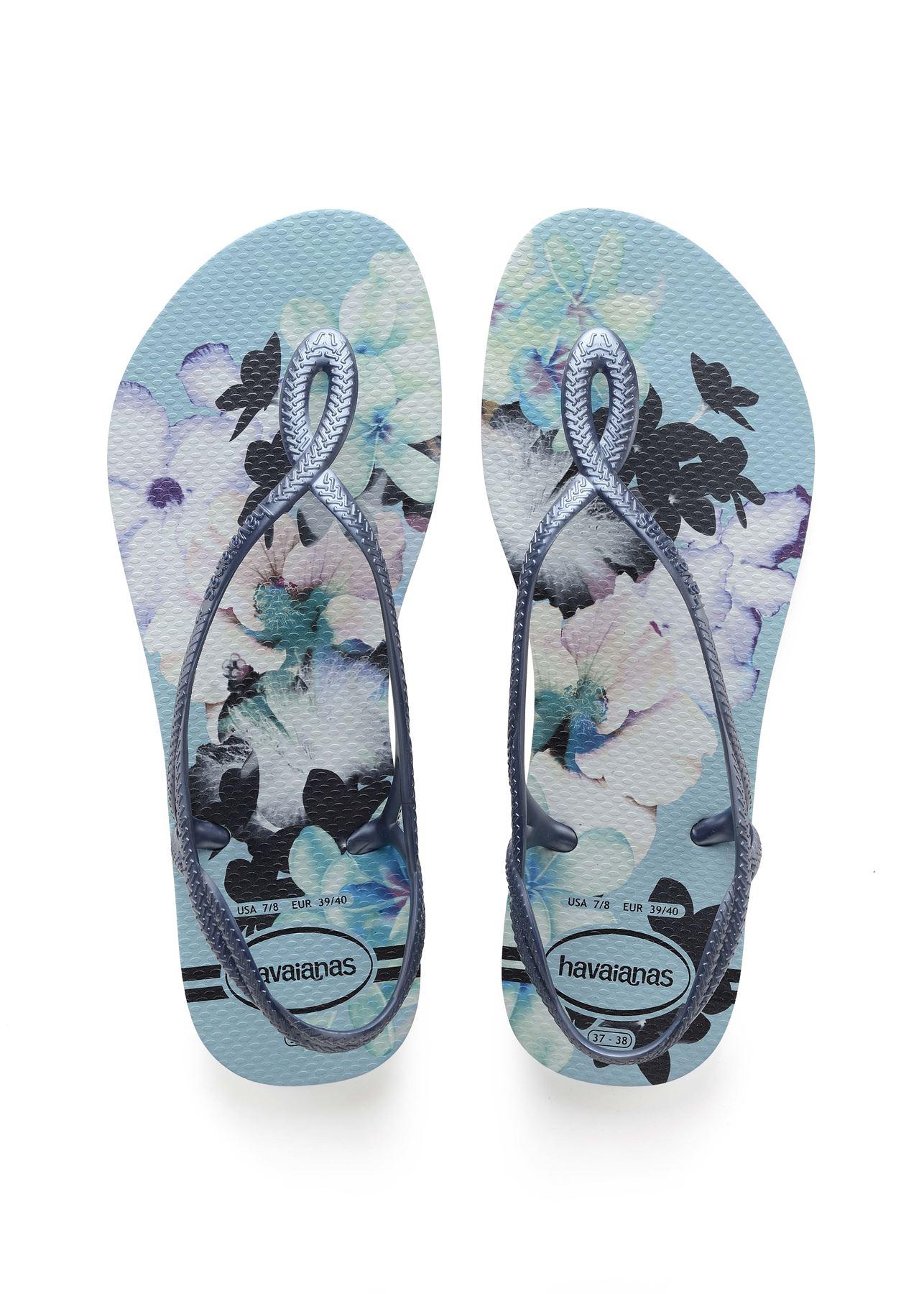 4c9ba6077f07 Havaianas Luna Floral Print Flip Flops Beach Pool Sling Back Strap ...