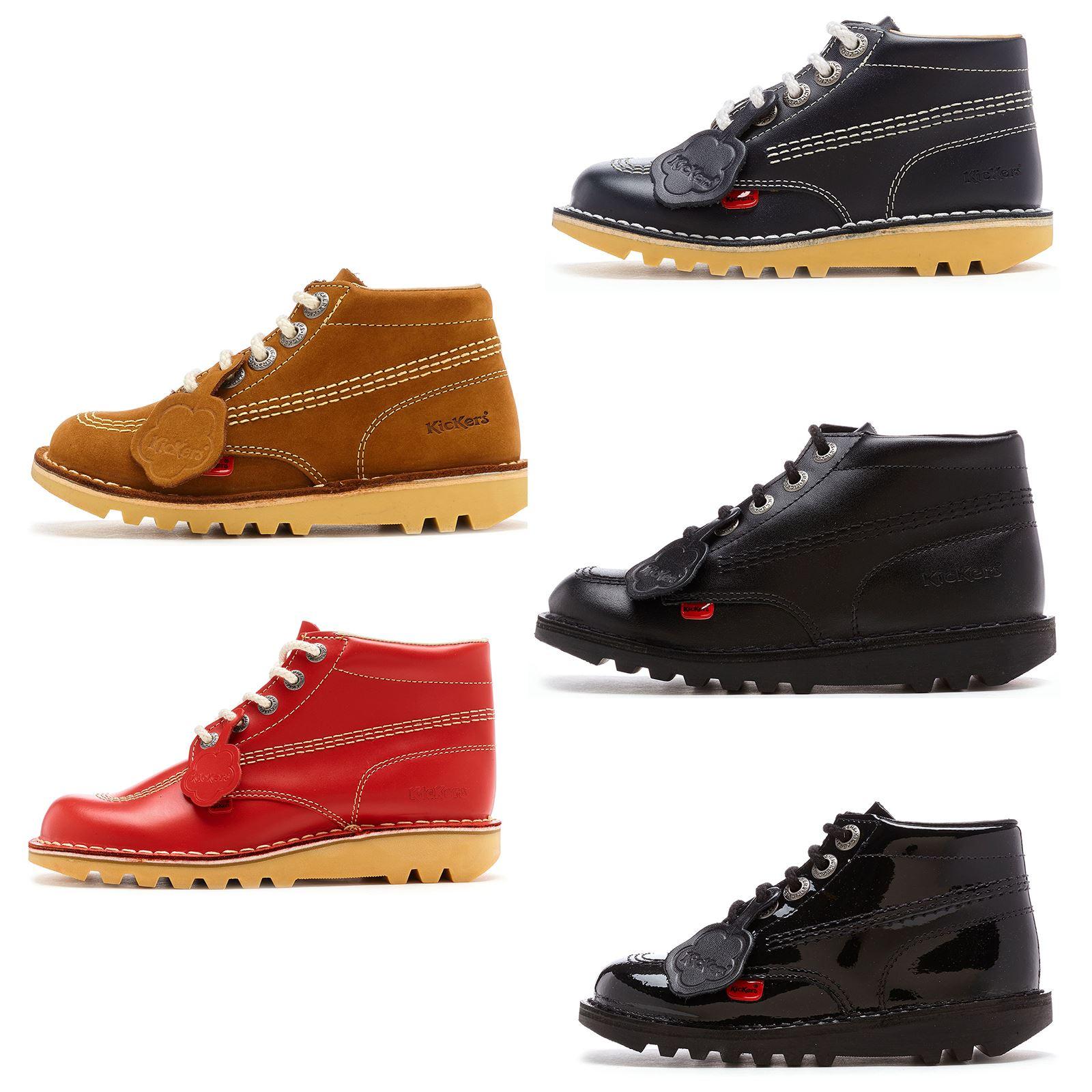 65b9e0fdd53ddc Kickers Kick Hi Core Kids bottines en cuir en noir, bleu, rouge & Tan