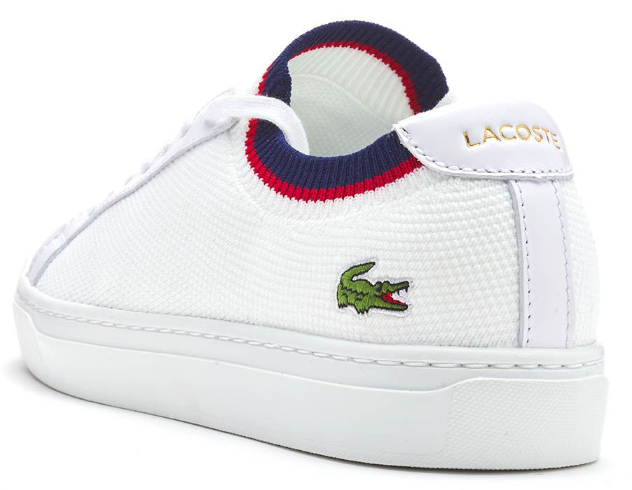 Lacoste-La-Piquee-119-1-CMA-Lace-Up-Textile-Trainers-in-White-amp-Green-amp-Blue thumbnail 8