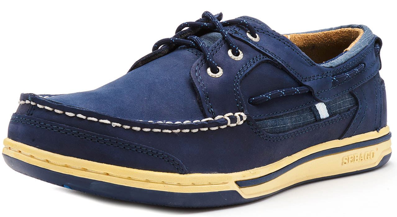Sebago-Triton-Three-Eye-FGL-Suede-Boat-Deck-Shoes-in-Navy-Blue-amp-Brown-Cognac thumbnail 23