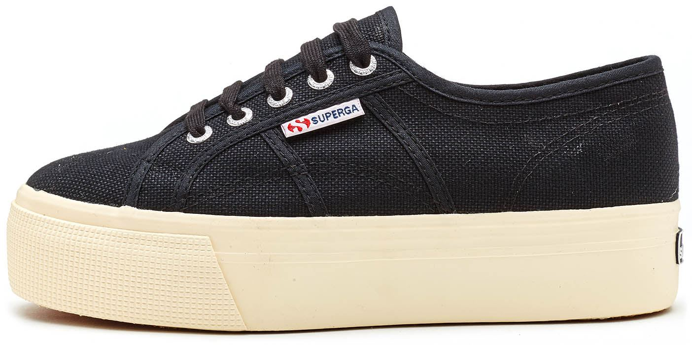 Superga 2790 Acotw Linea Up And Down Black Womens Canvas Flatform Laced Trainers