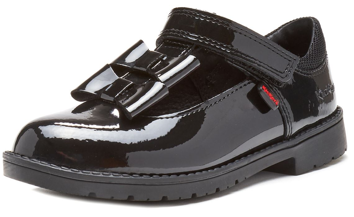 Kickers Lachly Mary Jane Girls Black Patent school shoes 114758 Euro 29 UK 11
