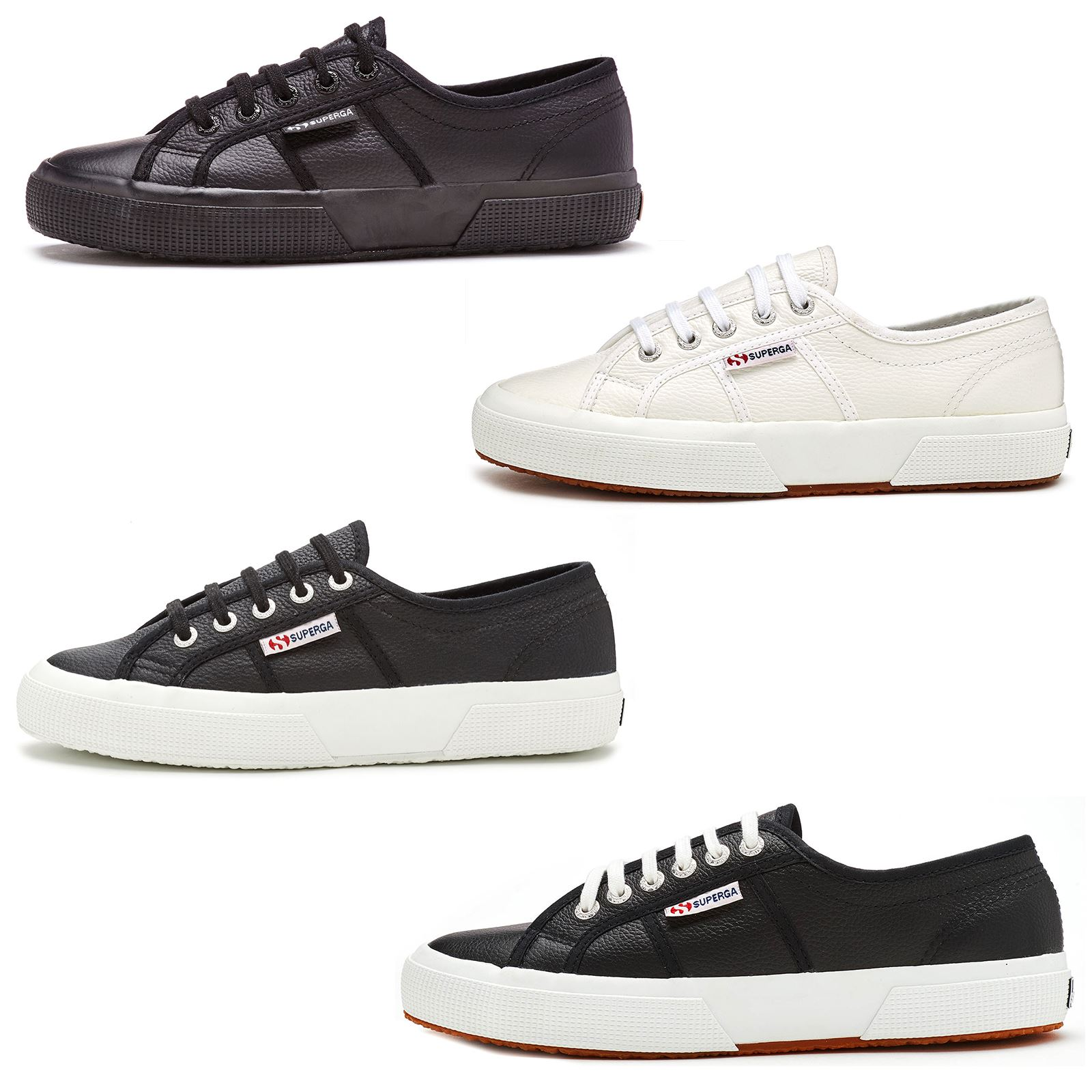 03ddcc55f42c88 Superga 2750 Efglu Leather Trainers Shoes in White & Black 900 & 999 ...
