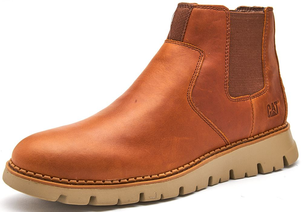 Caterpillar-CAT-Kase-Leather-Ankle-Chelsea-Boots-in-Brown-amp-Tan thumbnail 7