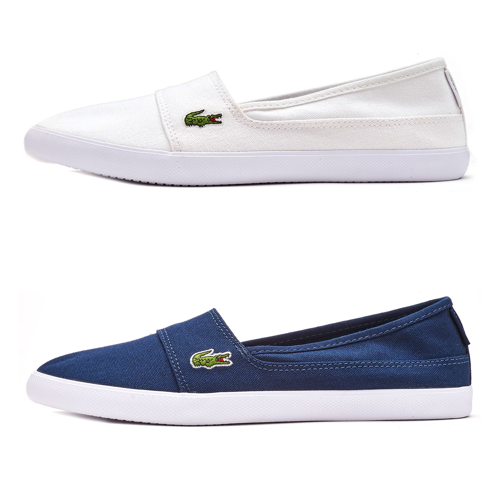 4264a56d9cb2 Details about Lacoste Marice BL 2 CFA Canvas Women Slip On Plimsolls  Trainers in Navy   White