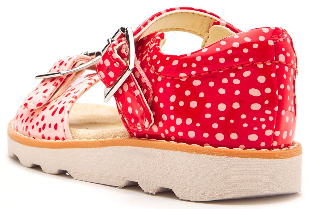 469a3b00241 Clarks Crown Bloom Toodler Leather Strappy Buckle Sandals Red Polka ...