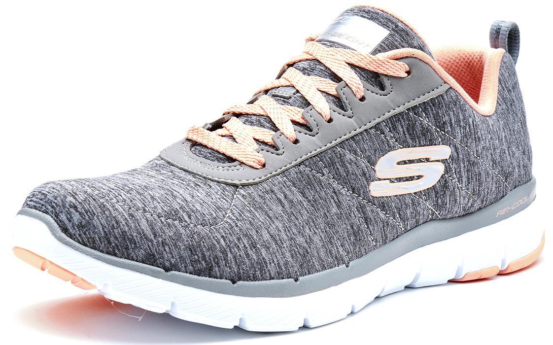 Details about Skechers Flex Appeal 3.0 Go Memory Foam Trainers in Grey, Pink & Navy Blue