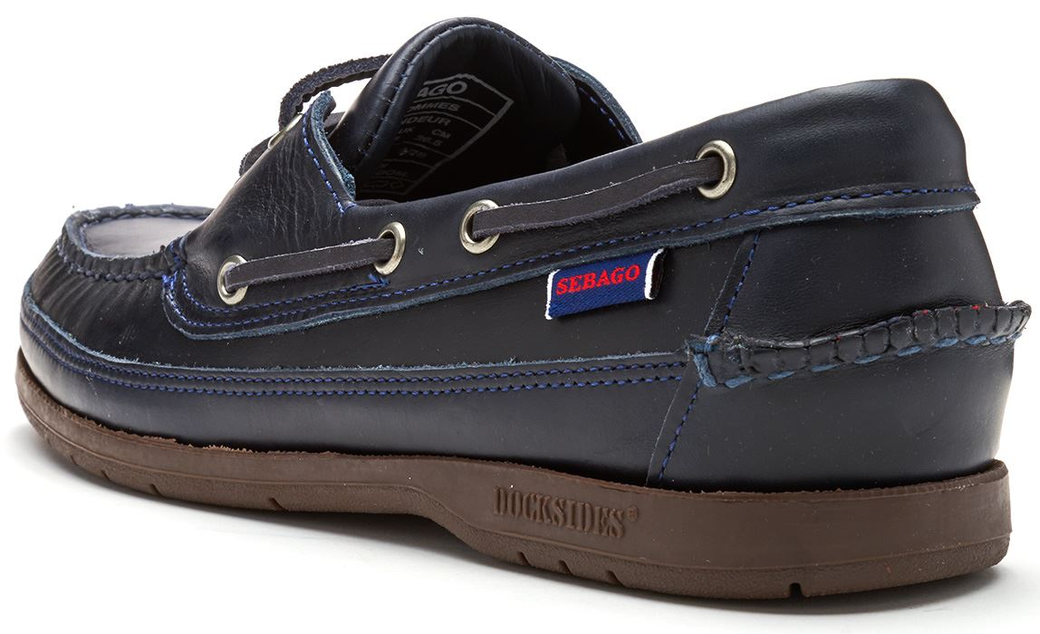 Sebago-Schooner-FGL-Waxed-Leather-Boat-Deck-Shoes-in-Brown-amp-Navy-Blue thumbnail 12