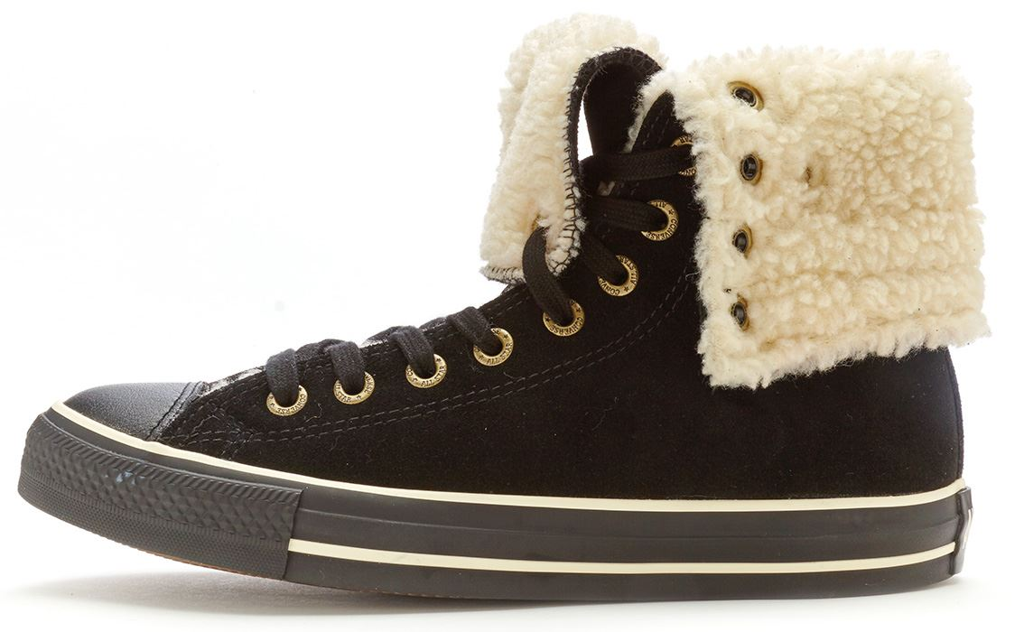 9bbe3bd2d9f2 Description CHUCK TAYLOR KNEE X HI BOOTS The iconic basketball style has  been given a winter make over with faux fur lining for warmth. Black suede  leather ...
