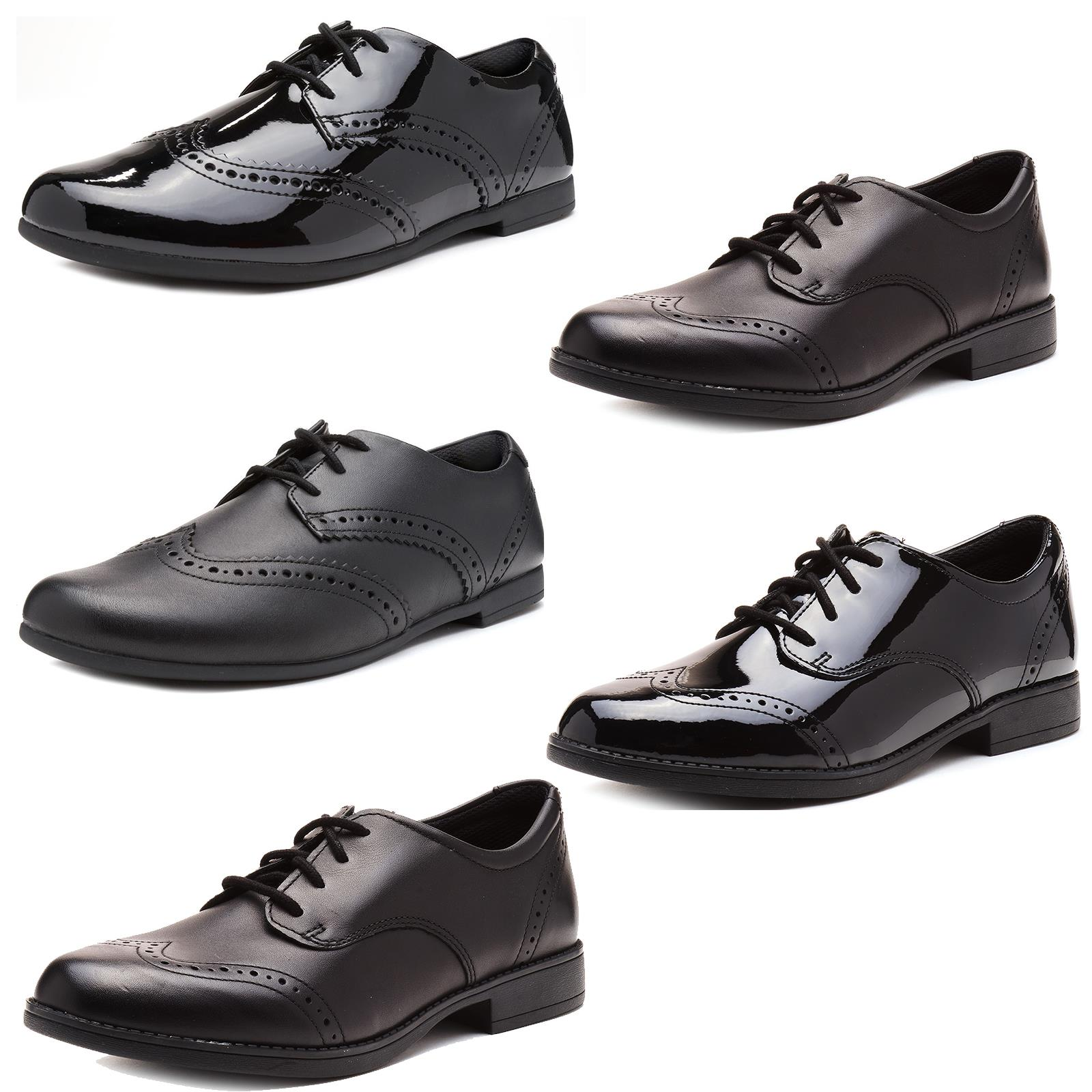 Details about Clarks Sami Walk Kids Back to School Lace Up Brogue Leather Shoes Black & Patent